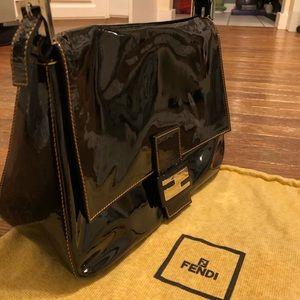 AUTH FENDI MAMA BAGUETTE Patent leather chain BAG